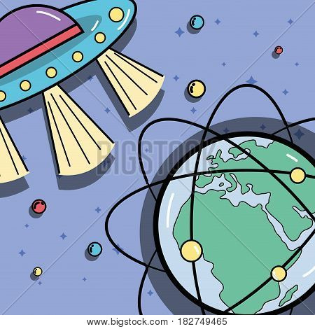 UFOs and geostationary orbits around earth planet, vector illustration