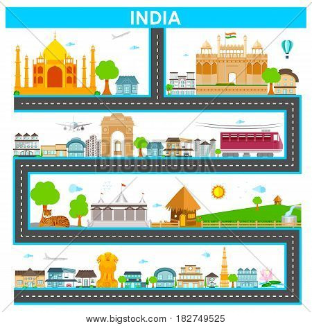 easy to edit vector illustration of cityscape with famous monument and building of India