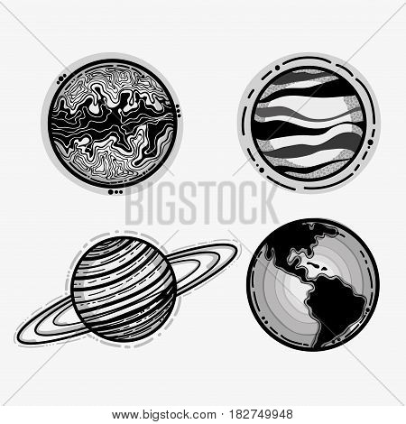 differents planets in the galaxy space, vector illustration design