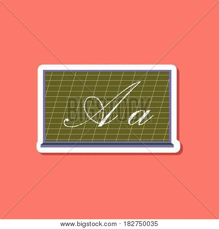 paper sticker on stylish background of blackboard