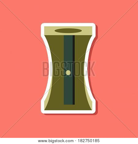 paper sticker on stylish background of pencil sharpener