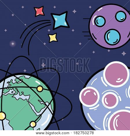 different planets with stars in the space galaxy, vector illustration