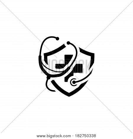 Medical Insurance Icon. Flat Design. Isolated Illustration. Stethoscope with a shield and a cross on it.