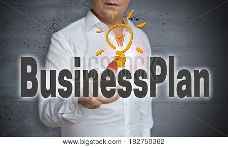 Businessplan touchscreen is operated by man picture