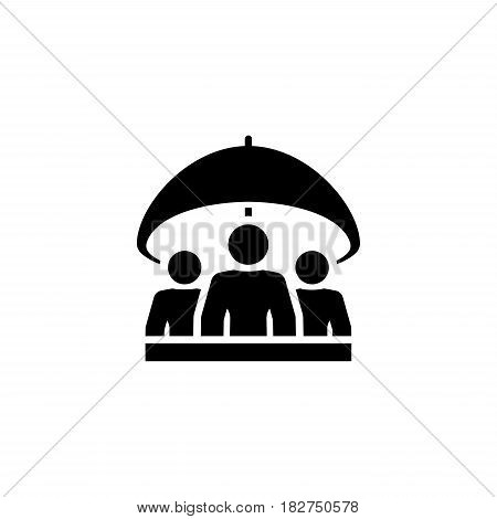 Group Life Insurance Icon. Flat Design. Isolated Illustration. A group of people under the umbrella.