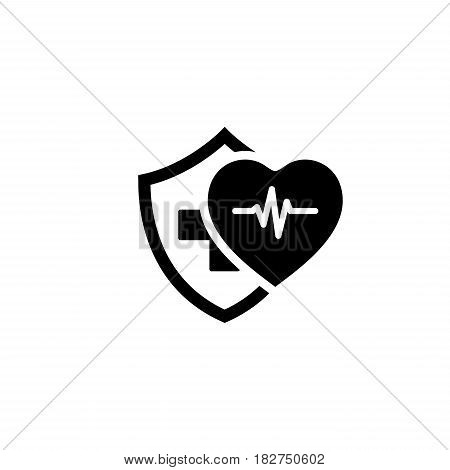 Health Insurance Icon. Flat Design. Isolated Illustration. Heart with pulse and a shield with a cross behind them.