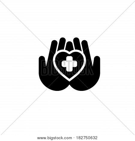 Heart Care Icon. Flat Design. Isolated Illustration. Two hands holding a heart with a cross on it.