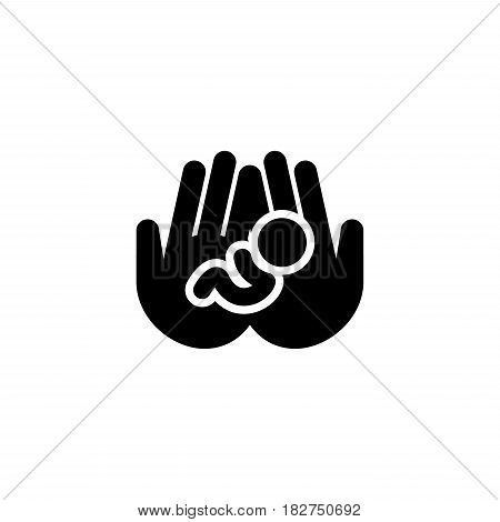 Life Care Icon. Flat Design. Isolated Illustration. Two hands holding a newborn baby.