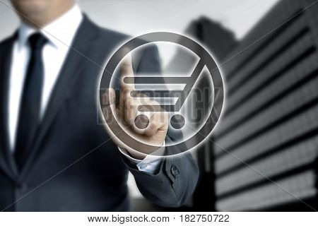 Shopping Cart Touchscreen Is Operated By Businessman