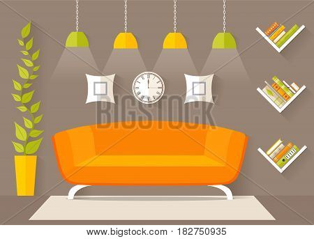 Living room design furniture. The interior concept in a flat style. A relaxation area. Vector.