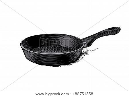 Drawing of isolated black frying pan on the white
