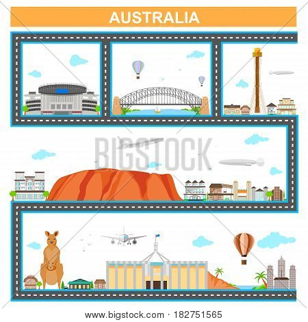easy to edit vector illustration of cityscape with famous monument and building of Australia