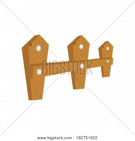 Wood fence icon. Barrier picket garden farm and object theme. Isolated design. Vector illustration