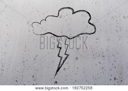 cloud and lightning bolt minimalistic storm illustration on raindrops background