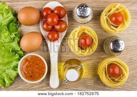 Pasta Tagliatelle, Lettuce, Tomatoes, Eggs, Bowl Of Sauce, Lettuce