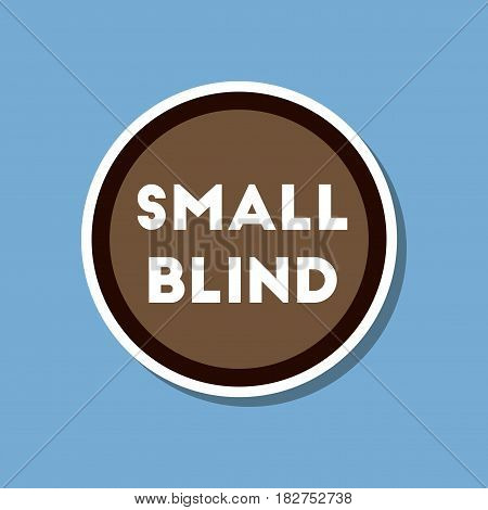 paper sticker on stylish background of poker small blind