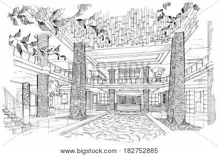 sketch perspective lobby hall, black and white interior design.