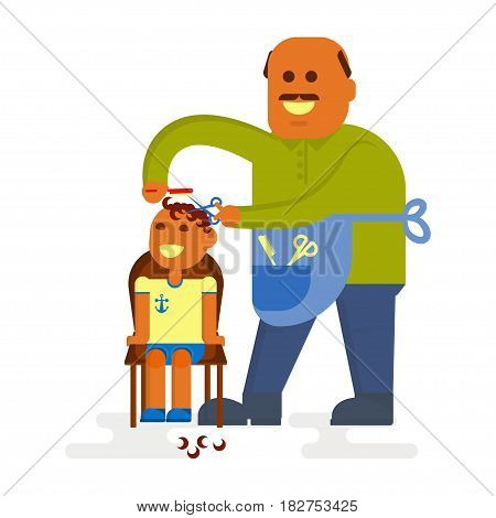 Professional bald-headed hairdresser is cutting to baby boy hair on white background. Cartoon characters in flat design. Vector illustration eps10