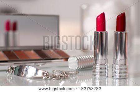 Beauty Concept. Professional Cosmetics For Facial Makeup