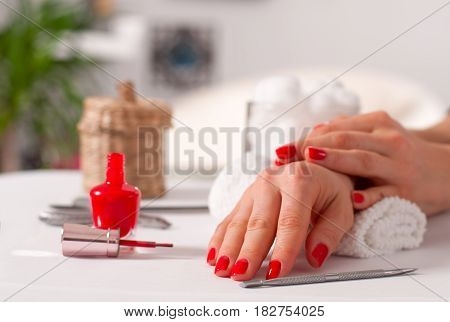 Beautiful Manicure, Woman's Hands With Red Nails