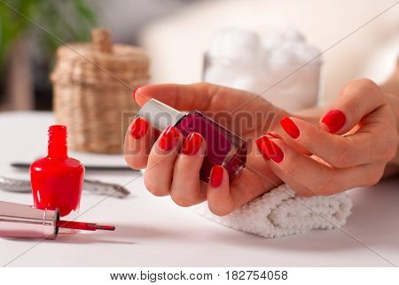 Manicure Concept. Beautiful Woman's Hands In The Spa.
