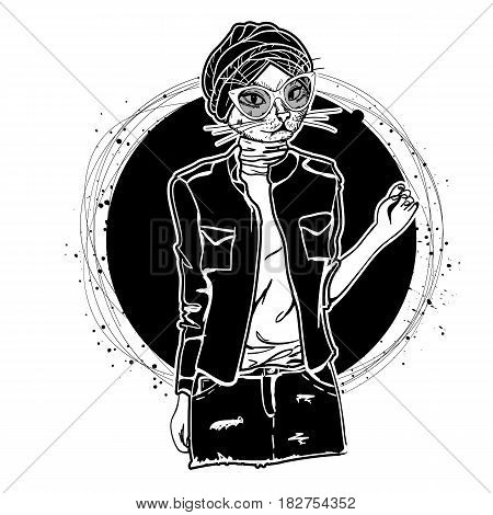 Vector monochrome sketch of female model with cats head wearing denim skirt, denim jacket, top, shoes, turban and sunglasses