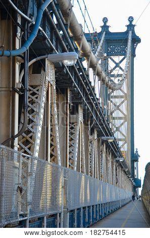 Manhattan Bridge pedestrian section - New York City, United States