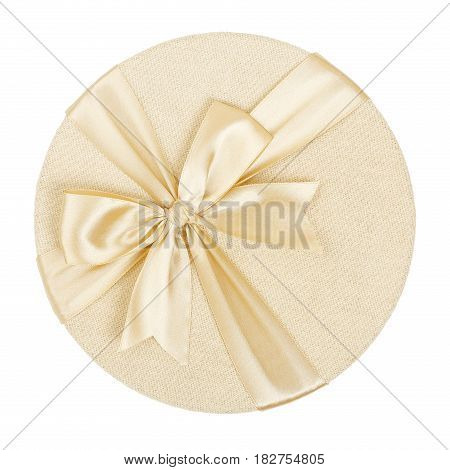 top view of round gift box isolated