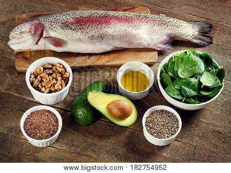 Foods Highest In Omega-3 Fatty Acids. Healthy Diet Eating.