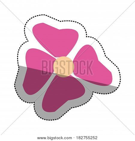 Pink flower icon. Floral nature plant and botany theme. Isolated design. Vector illustration