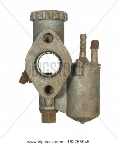 Old aluminum carburetor from an old motorcycle isolated on a white background.