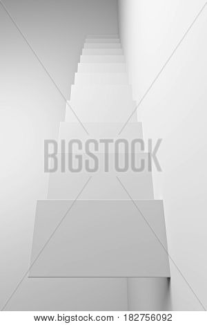 White ascending stairs of rising staircase going upward top view abstract white 3d illustration. Business growth progress way and forward achievement creative concept.