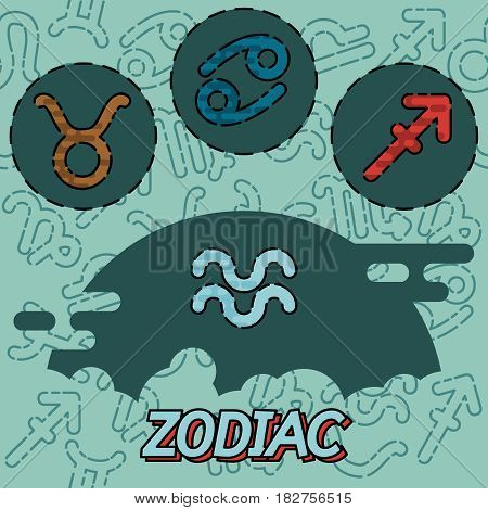 Zodiac flat concept icons. Astrology and fortunetelling concept. Vector illustration, EPS 10