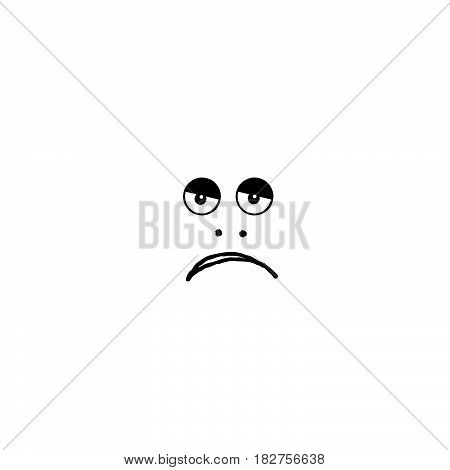 Sadness sign. Looks sad face cartoon. Doodle media art funny icon