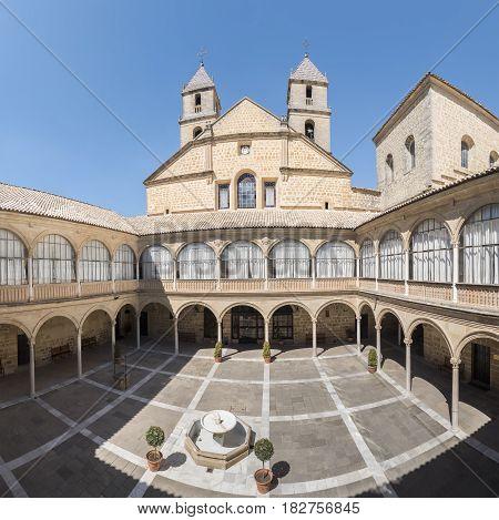 Hospital de Santiago Courtyard in Úbeda (Cultural heritage of Humanity) Jaén Spain. World Heritage Site of Unesco.