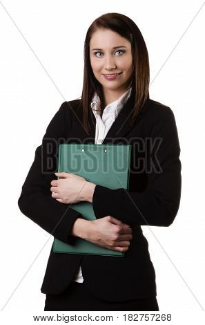 Young business woman with file, isolated on white