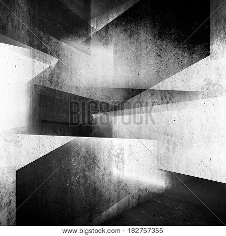 Abstract Dark Concrete Interior Background 3D Art