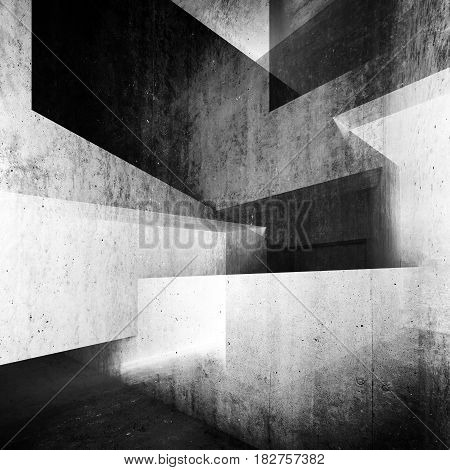 Abstract White Concrete Interior Background 3 D