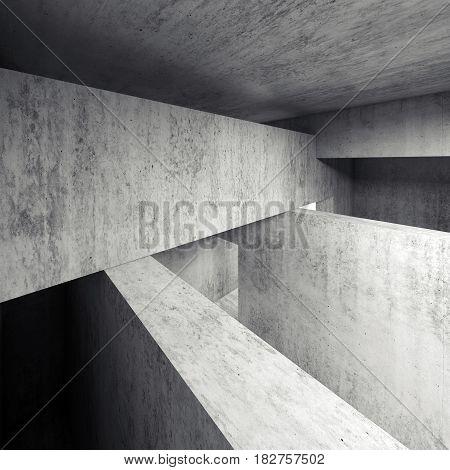 Abstract Empty Concrete Interior, Walls, Girders 3D