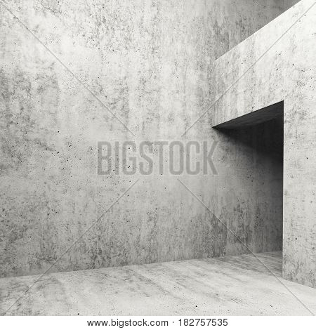 Abstract empty concrete interior 3 d illustration