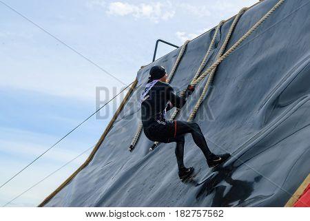 Sportsman Storms Big Wall In Extrim Race. Tyumen