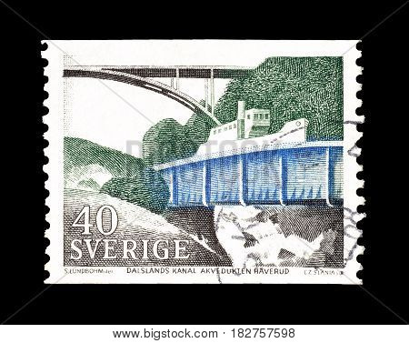 SWEDEN - CIRCA 1968 : Cancelled postage stamp printed by Sweden, that shows Dalsland canal.