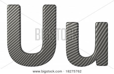 Carbon Fiber Font U Lowercase And Capital Letters