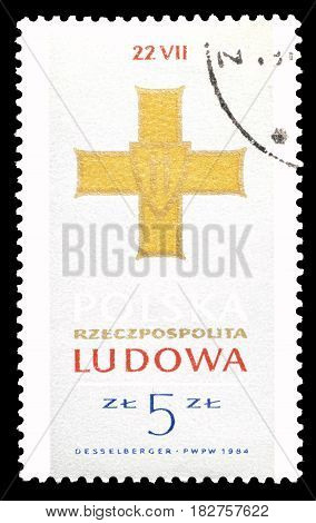 POLAND - CIRCA 1984 : Cancelled postage stamp printed by Poland, that shows Order of Grunwald Cross.