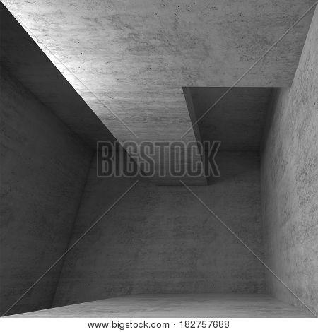 3D Empty Concrete Interior Ceiling Construction