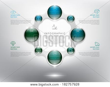 Abstract info graphic with circle elements. Glossy and transparent on the white panel. Use for business concept. 4 parts concept. Vector illustration. Eps10.