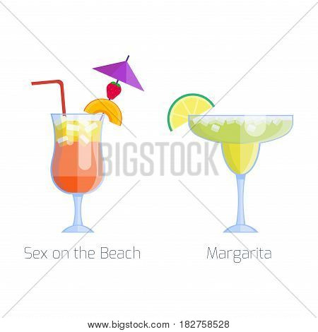 Set of alcoholic cocktails isolated fruit cold drinks tropical margarita freshness and party alcohol sweet tequila vector illustration. Juice with refreshment rum restaurant beverage.