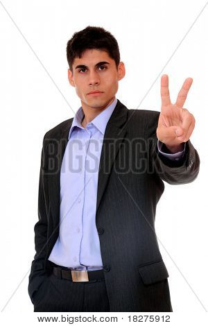 young business man in a suit gesturing with his finger