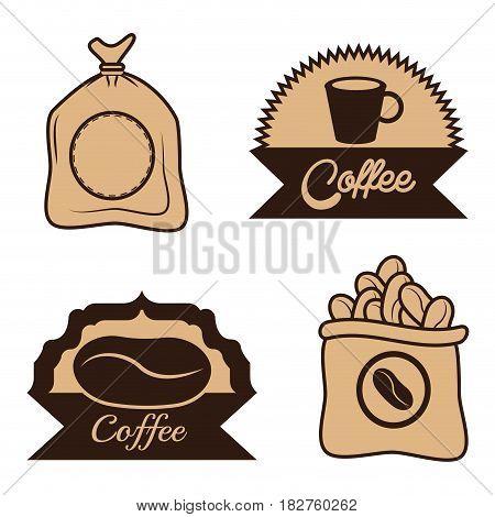 coffee label sac beans cup desgin vector illustration eps 10