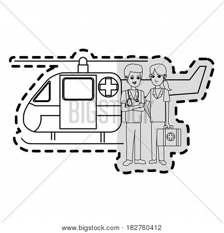 paramedics and ambulance helicopter icon image vector illustration design poster